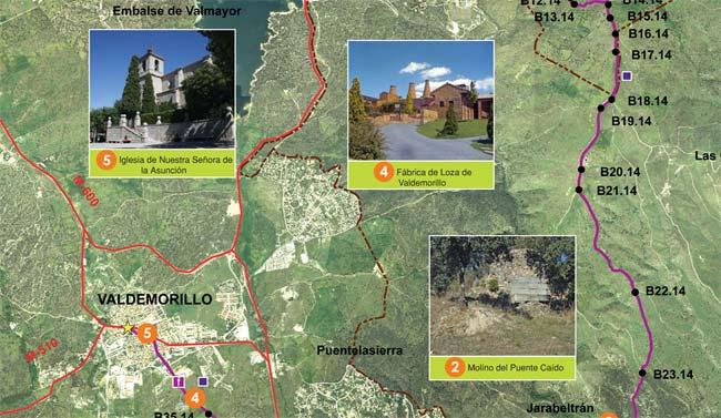 Mapa rutas senderismo Valdemorillo