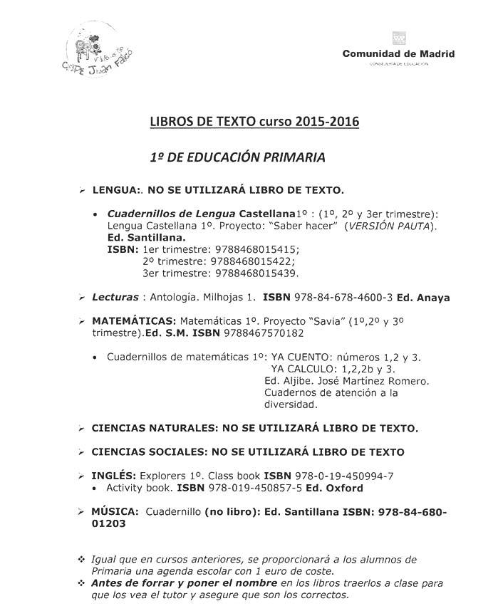 Listado de los libros de texto del colegio Juan Falcó de ...