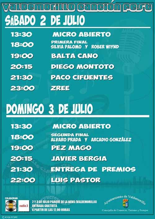 cartel y horarios Valdemorillo Canción Fest