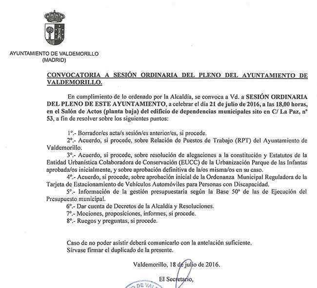pleno ayuntamiento Valdemorillo julio 2016
