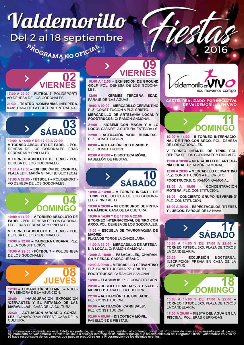cartel fiestas septiembre Valdemorillo 2016