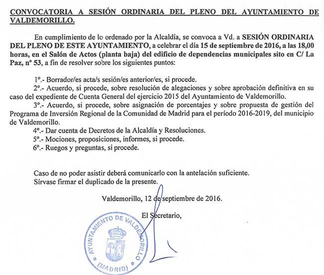 pleno Ayuntamiento Valdemorillo 15 septiembre 2016