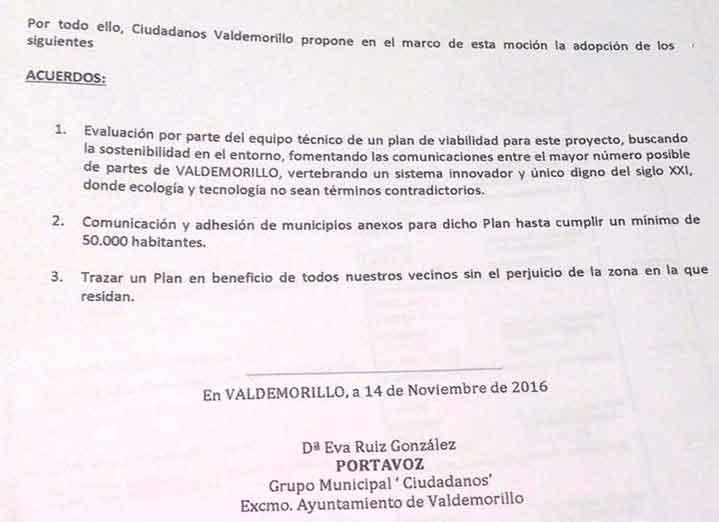 urban innovation actions moción partido ciudadanos Valdemorillo