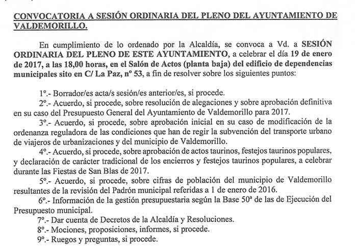 Pleno Ayuntamiento Valdemorillo 19 enero 2017-valdemorillo