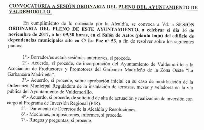 pleno Ayuntamiento Valdemorillo noviembre 2017