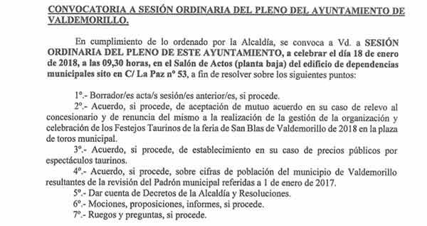 pleno Ayuntamiento Valdemorillo enero 2018