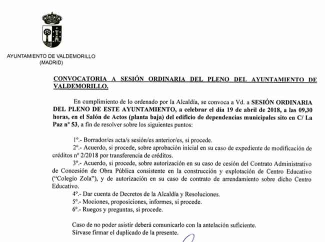 pleno Ayuntamiento Valdemorillo abril 2018